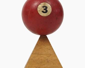 "No. 3 Pool Ball Miniature Clay Billiard Ball Size 1 5/8"" Red Three III Solid Solids"