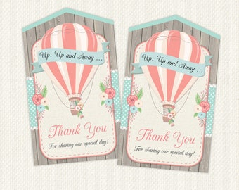 Hot Air Balloon Thank You Tag, Hot Air Balloon Favor Tags, Hot Air Balloon Party, Hot Air Balloon Printables, instant download, printable