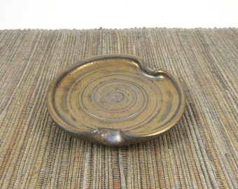 Bronze Gold Metallic Spoon Rest, Hand Made Ceramic Spoon Rest, Teabag Holder in Gold, Kitchen Pottery, Stovetop Pottery, Ready to Ship