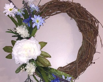 Grapevine wreath with Blue and white a flowers