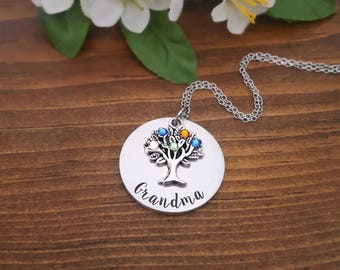 Birthstone Necklace For Grandma | Necklace For Grandma | Grandmother Necklace | Gifts For Grandma | Birthstone Necklace | Grandmother Gifts