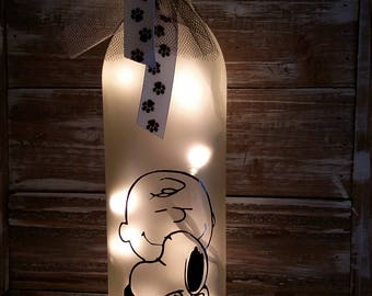 Charlie Brown and Snoopy Lighted WIne Bottle/Glass/Decoration/Lamp/Peanuts/Decor/Gift