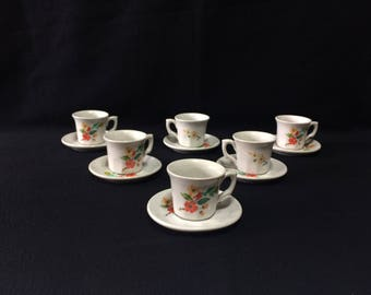 POF Ancienne Porcelaine Espresso Demitasse Cups & Saucers Set of 6 Made in Italy