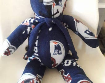 Patriots Bear gift for Tailgate party, Man Cave, Birthday, Valentines Day gift. NFL New England Patriots, Red White Blue by Vintage Angel