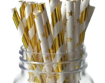 twinkle twinkle little star straws, gold star straw mix, 10CT, graduation decorations, gold and white, babys first birthday party, 1st