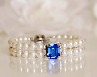 Swarovski Sapphire Blue Crystal and Pearl Bridal Bracelet Pearl Bridal Cuff Bracelet Royal Blue Wedding Bracelet Pearl Bracelet
