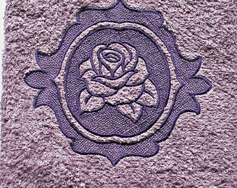 Embroidered Rose -  hand towel - embossed embroidered rose towel - Spring - unique gift