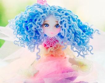 Fae miniature fairy fairy garden floral doll fairy light hanging fairy wonderland pretty doll shelf decor princess gift fairy figurine
