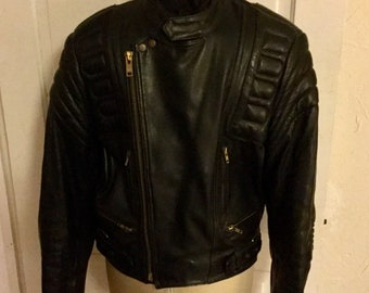 Black Motorcycle Biker Jacket -  Leather - Mens Berman - Size 42 - Excellent Condition
