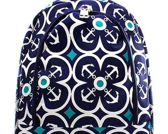 Anchor Geometric Print Monogrammed School Backpack Navy Blue Trim