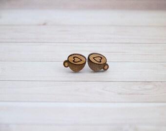 Wooden Coffee Cup Earrings - Stud Earrings - Coffee Lover - Lasercut - Coffee Earrings.