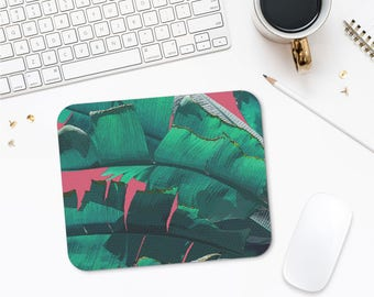 Banana Leaf Mousepad, Tropical Mouse Pad, Pink And Green, Computer Decor, Mouse Pad Online, Picture Mouse Pad, Computer Mouse Mat