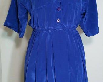 Vintage Leslie Fay Blue Dress Size 6