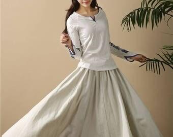 Retro Pure color Loose Linen Women Ankle Length Skirt