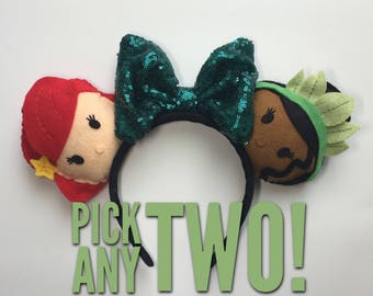 Pick Any Two Characters for Your Mickey Minnie Ears with a bow! Tsum Tsum Plush