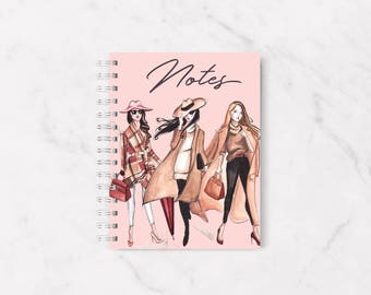 Fashion notebook, Fashion Illustration, A5 Fashion Notebook, Fashion sketch, Fashion lover gift, A5 Notebook, Office supplies, Planner