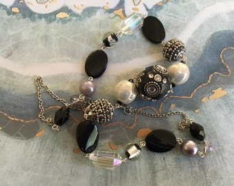 Black Statement Necklace, Beadwork Necklace, Beaded Necklace, Glass Necklace, Womens Jewelry