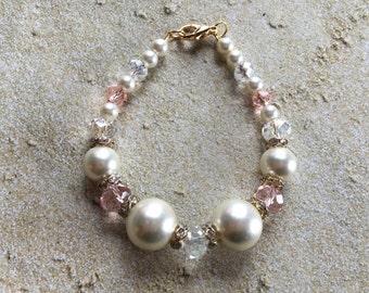 Cream Glass Faux Pearl Bracelet, Bracelet, Beaded Bracelet, Beadwork Bracelet, Gift For Her