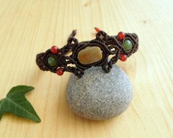 Agate macrame bracelet, macrame jewelry, hippie bracelet, macrame stone, gemstone bracelet, agate jewelry, tribal bracelet, bohemian jewelry