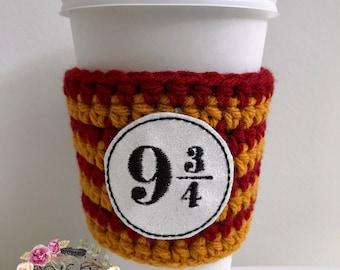 9 3/4 Cozie / Harry Potter / Cozie / Cozies / Coffee Cozie / Tea Cozie / Tumbler Cozie / Crochet Cozie