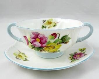 Shelley Begonia Soup Bowl with Saucer, Two Handles, Blue Trim, Vintage Bone China, Bouillon Bowl