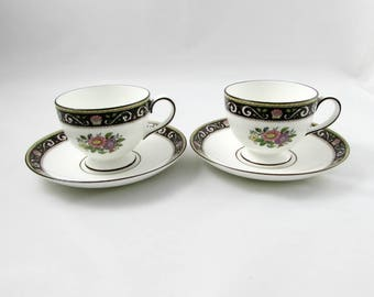"""Pair of Wedgwood Tea Cups and Saucers """"Runnymede"""" W4577, Vintage Bone China, Tea for Two, Tea Party"""