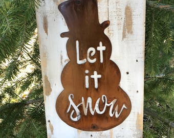 Snowman sign, Let it snow sign, Winter Farmhouse Decor, Farmhouse Signs, Fixer Upper Style, Rustic Winter Signs, Rustic Home Decor, Country