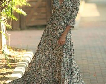 Carrie dress, Maxi Dress with sleeves, Hippie Urban Evening Summer Dress, Unique dress, Boho chic dress, Gypsy dress, Romantic, Flowers