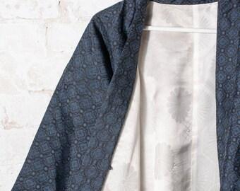 Vintage Woven Blue Silk Japanese Kimono Jacket / Haori