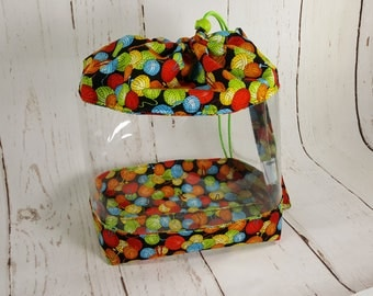Large Clear Vinyl Project Bag, Rainbow Yarn Balls Drawstring Bag with clear vinyl, clear window drawstring bag CVL0015