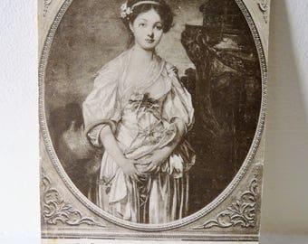 "Antique 1909 Postcard, Postage Stamp, Louvre Paris, ""The Broken Pitcher"", Jean-Baptiste Greuze, Regency Girl"