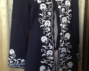 Marie St Claire embroidered trim jacket coat top 6 8