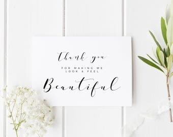 Wedding Makeup Artist Card, Thank You Card For Hairdresser, Thank You For Making Me Look Beautiful, Card For Wedding Hair Stylist, Wedding