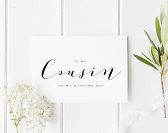 To My Cousin On My Wedding Day, Cousin Wedding Day Card, Cousin  Wedding Card, Calligraphy Card Cousin Wedding Day, Cousin On My Wedding Day
