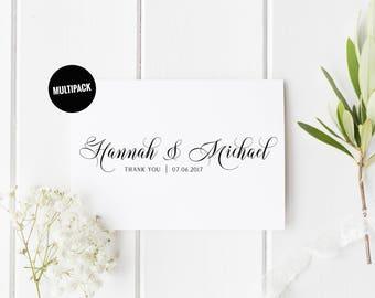 Custom Wedding Cards Pack (10) Thank You Wedding Card, Wedding Card Set, Newlyweds Thank You Card Set, Wedding Thank You Card Set Of 10
