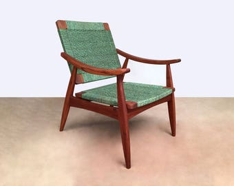 Green Lounge Chair, arm chairs, mid century modern lounger, handcrafted furniture, mahogany, Danish modern, handwoven, mod, mcm, living room