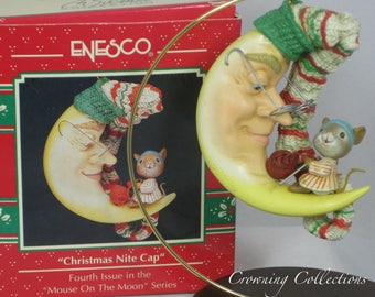 Enesco Christmas Night Cap Mouse Knitting Treasury of Christmas Ornament Mice Fourth in Series Mouse Vintage Sewing