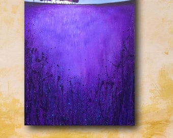 Terrace on purple , Original textured Acrylic landscape by Jane Palmer