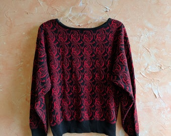 Vintage Red Sweater Soft Oversized Pullover Sweater Rustic Boyfriend Sweater Northwest Rustic Soft Comfortable