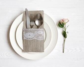 SET OF 50 Burlap Silverware Holders, Table Decor, RusticSilverware Holders, Rustic table decor, Wedding Table Set, Burlap table decoration