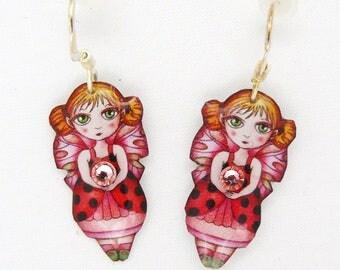 Pink fairy earrings 925 for children