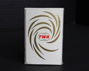 Vintage TWA Airline Nu-Vue Playing Cards, in Box, White with Gold and Red TWA Logo, Boxed, Used (V079)