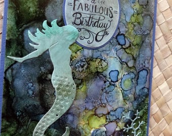 Mermaid birthday card with diecut mermaid on alcohol inked background paper