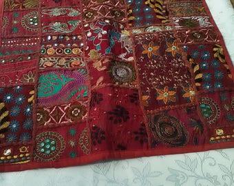 Handmade Boho Indian Patchwork Pillow top