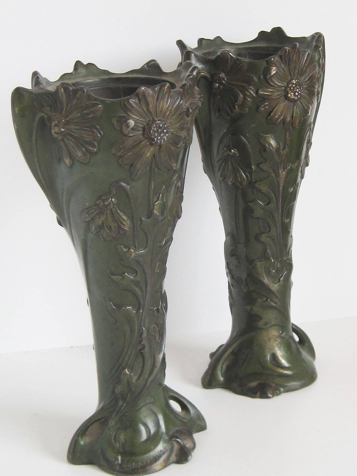 Bonnefond france pair french bronze art nouveau vases late bonnefond france pair french bronze art nouveau vases late 1800s early 1900s reviewsmspy