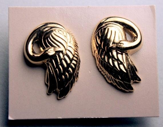 Avon Swan Earrings, Goldtone, Post Style Earrings, New In Box, 1989