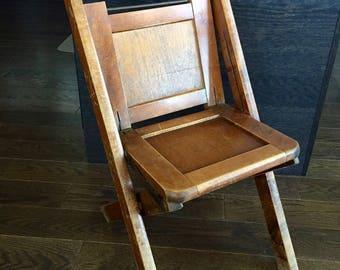 Vintage CHILD'S FOLDING CHAIR, Sunday School Chair, Child's School Folding Wood Chair, Antique Wood Folding Chair, Child's Room Decor