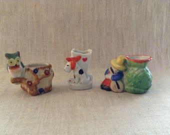 Vintage Occupied Japan Toothpick Holders Group of 3