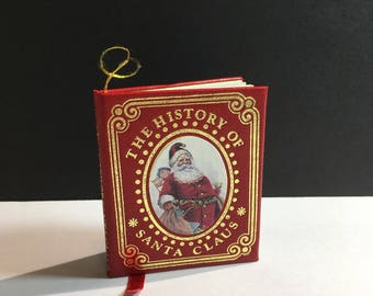 Vintage Kurt S. Adler 1986 The History of Santa Claus Book Christmas Ornament Santa Decor Nursery Display Tiny Book Holiday Collectable