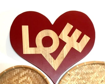 Vintage 1970s Wooden Wood LOVE Sign Robert Indiana Wall Decor Boho Nursery Decor Valentine Gift